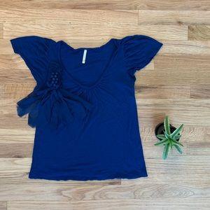 Olivia Moon Med Blue Short Sleeved Top w/Ruffles